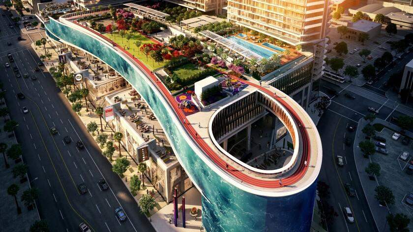 The $1 billion Oceanwide Plaza on Figueroa Street in downtown Los Angeles