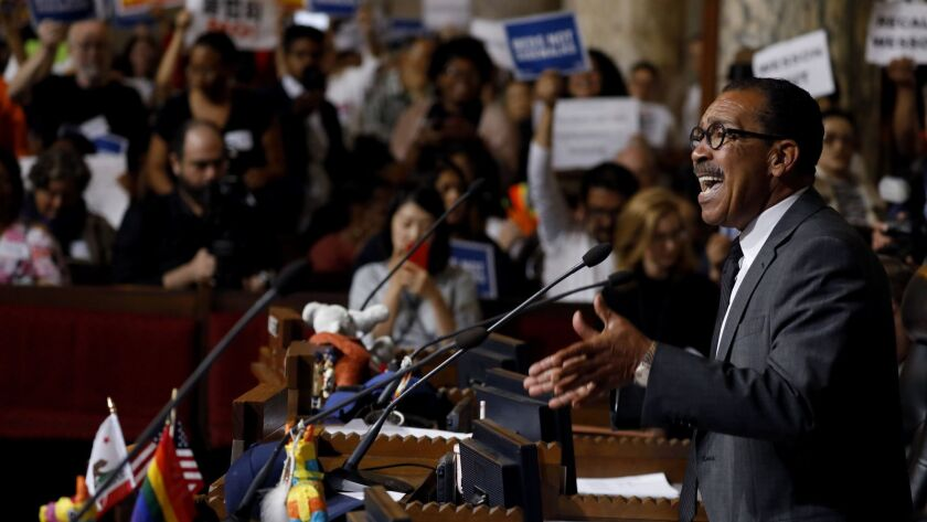 Los Angeles City Council President Herb J. Wesson speaks during a City Council meeting at City Hall.