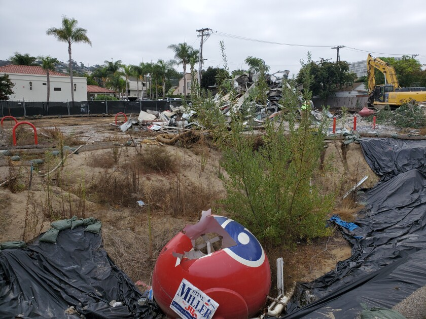 The former 76 gas station at 801 Pearl St. in La Jolla was demolished Sept. 27.