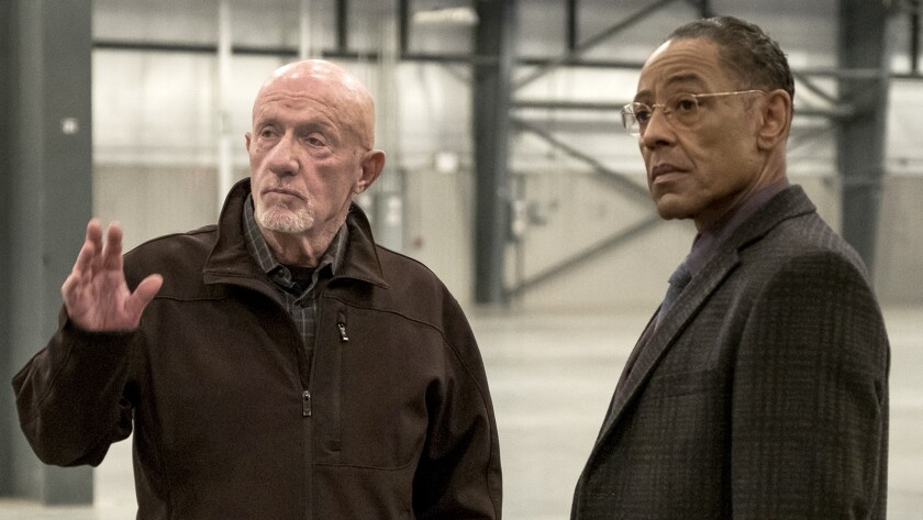 """Jonathan Banks, left, and Giancarlo Esposito in a new episode of the spinoff prequel """"Better Call Saul"""" on AMC."""