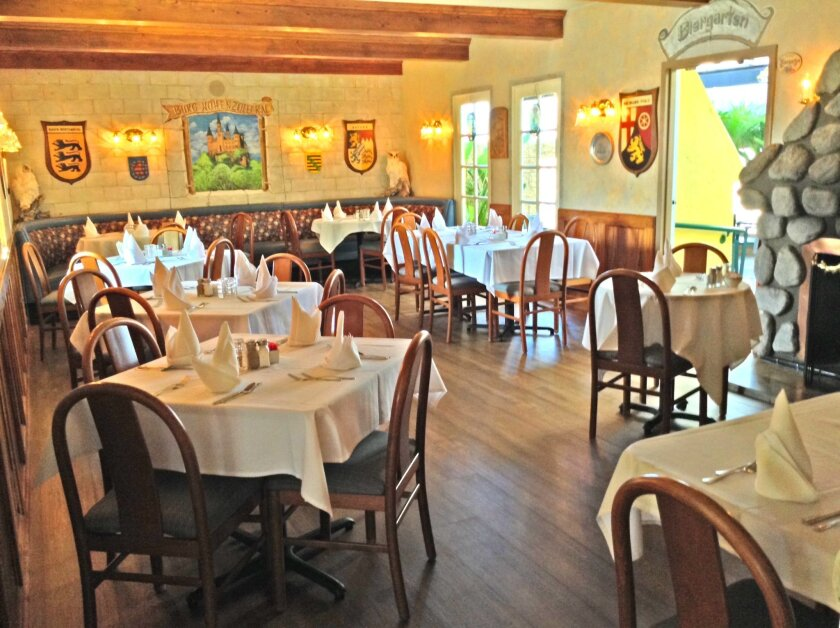 Meals are served in the quaint dining room at Kaiserhof Restaurant.