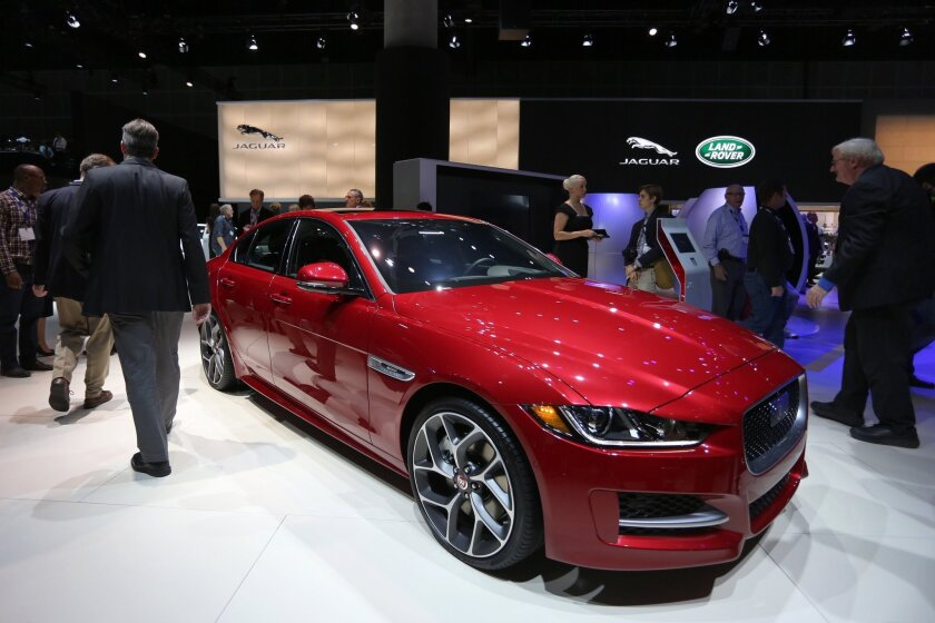 Cars and auto parts are among Britain¿s top exports to California. Above, the Jaguar XE is presented at the 2015 Los Angeles Auto Show.