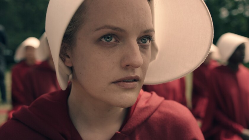 "Elisabeth Moss as Offred in Hulu's upcoming original series ""The Handmaid's Tale."""