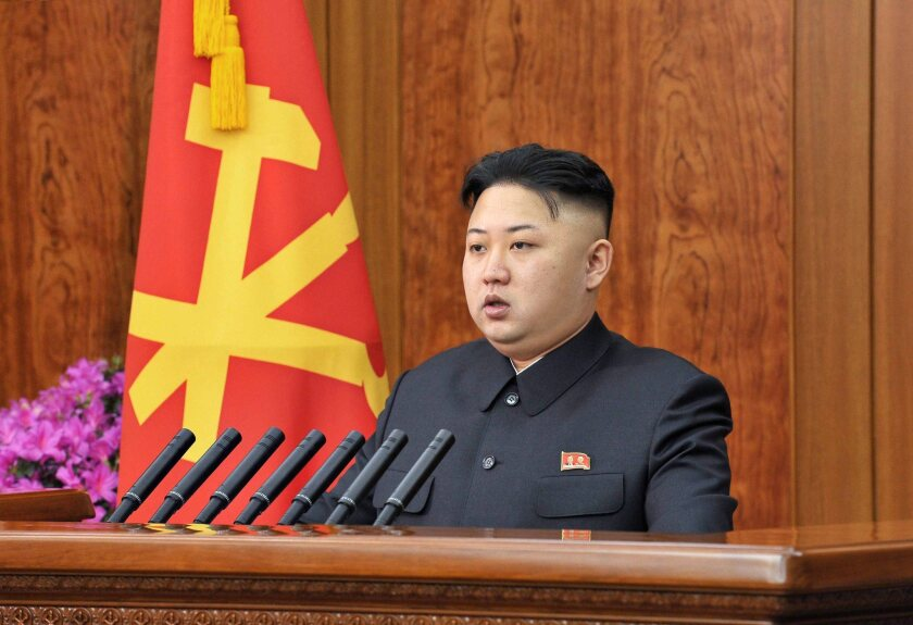 North Korean leader Kim Jong Un delivers a New Year's Day address in Pyongyang.