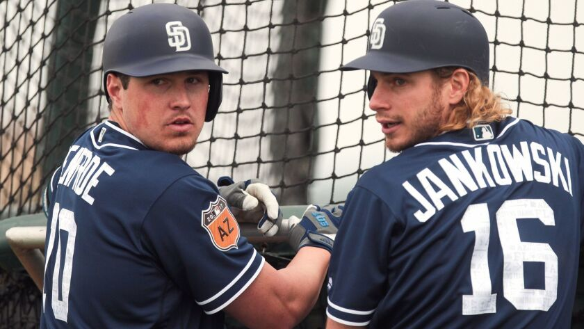 PEORIA , February 18, 2017 | The Padres' Travis Jankowski, right, and Hunter Renfroe during batting