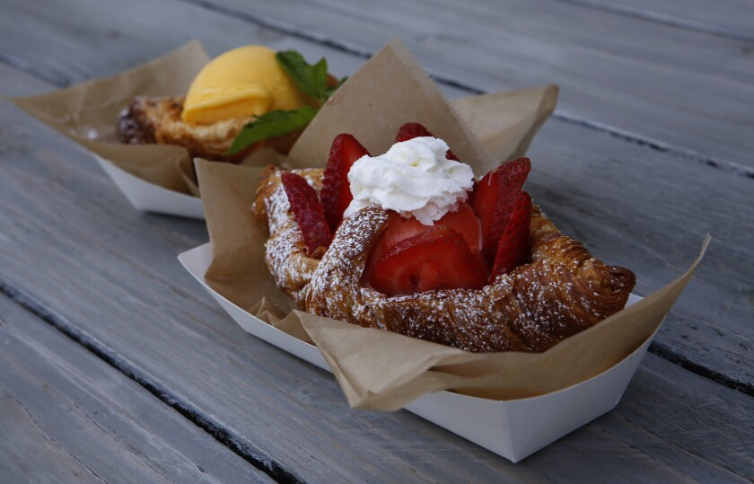 The Croissant Ice Cream Sandwich as served at Churned, located at the Union Market in Tustin.