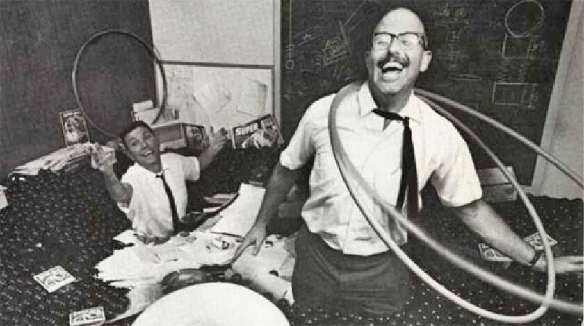 Richard Knerr, foreground, and Arthur Melin, co-inventors of the Hula Hoop.