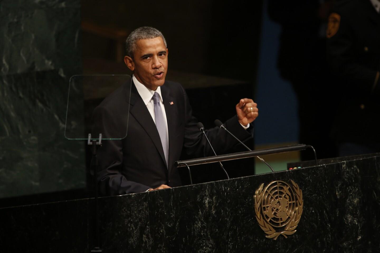 President Barak Obama addresses the United Nations 70th General Assembly.