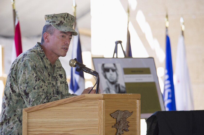 Rear Adm. Brian Losey, commander of Naval Special Warfare Command, speaks at the La Posta Assaults and Tactical Weapons Training Complex in Campo on Sept. 25, 2014.
