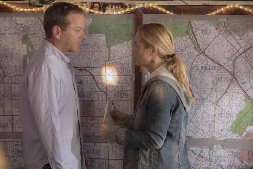"""The search for another child with similar gifts takes Martin (Kiefer Sutherland) to Los Angeles in the season premiere of """"Touch"""" at 8 p.m. on Fox. With Maria Bello."""