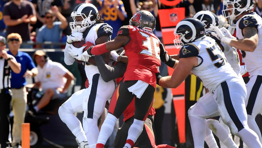 Rams running back Todd Gurley scores a touchdown.