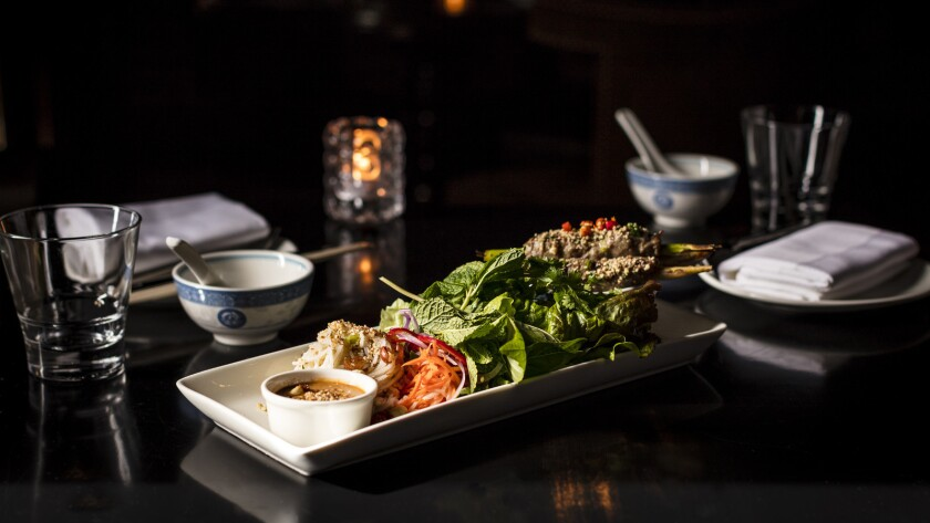 A dish from the new LSXO, a spin-off of the Little Sister restaurants in downtown L.A. and Manhattan Beach by chef Tin Vuong. LSXO is located inside another of Vuong's restaurants, Bluegold, in Huntington Beach.