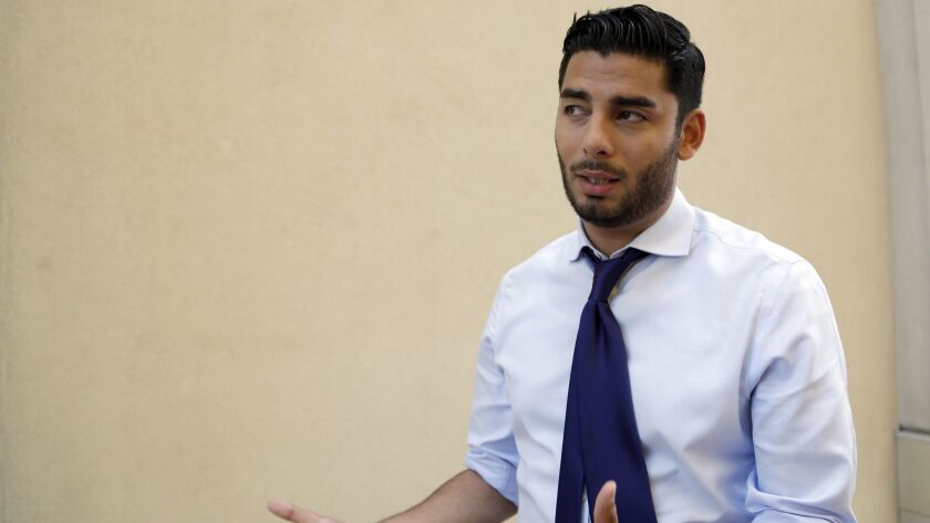 Democratic congressional candidate Ammar Campa-Najjar speaks during an interview Wednesday, Aug. 22,