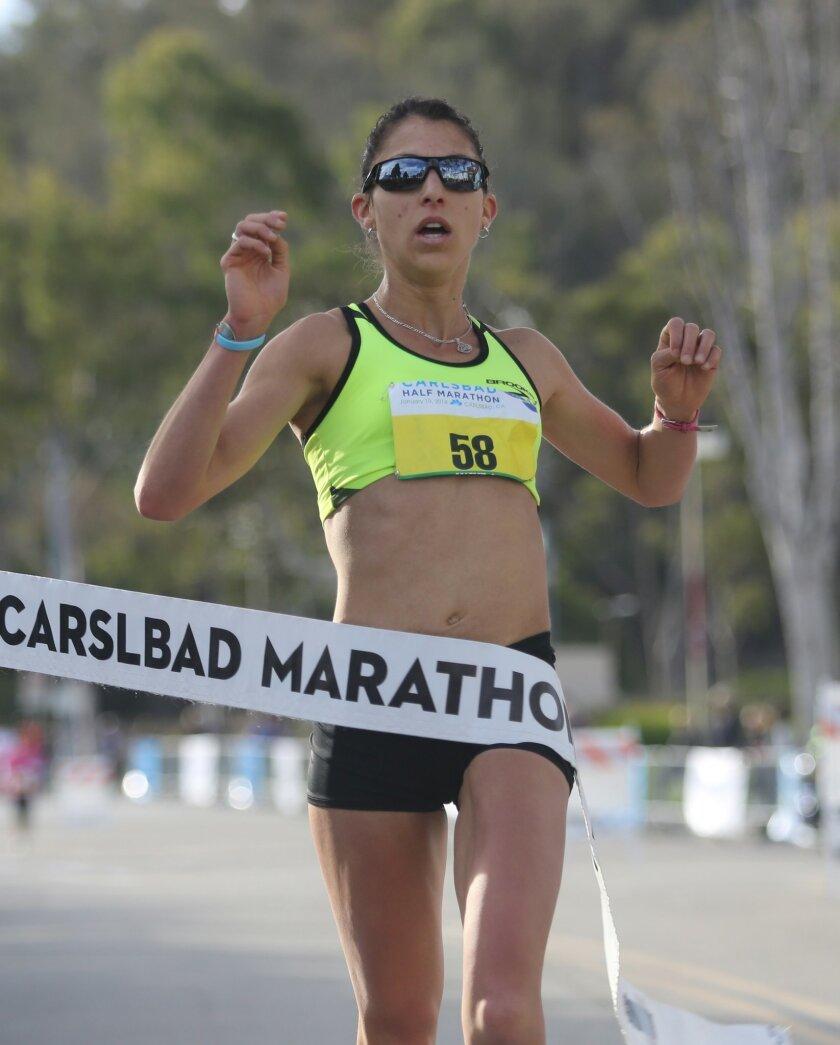 Elite runner, Natasha LaBeaud Anzures of San Diego, was the womens winner at the 2014 Tri-City Medical Center Carlsbad Half Marathon.
