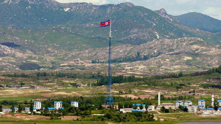 "North Korea's ""peace village"" of Kijong-dong is seen from an observation post in Panmunjom, South Korea. The South Koreans have a different name for it: ""propaganda village."""