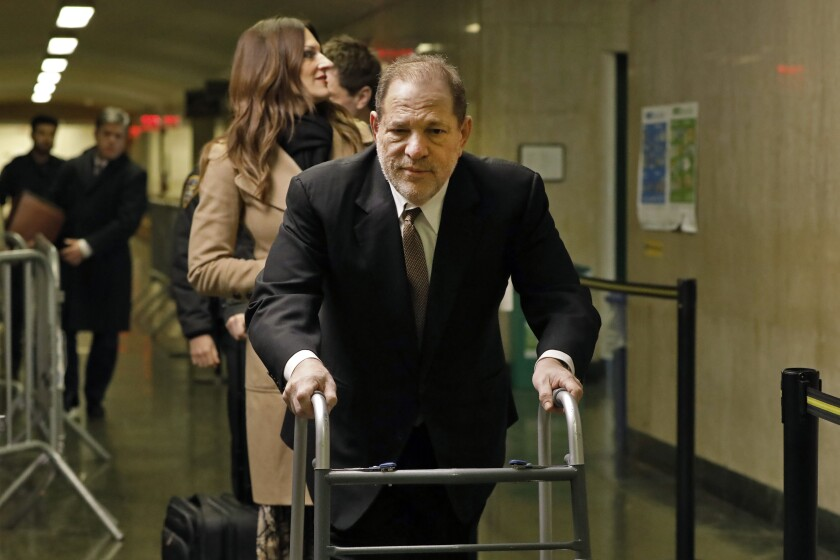Harvey Weinstein arrives for jury selection in his trial on rape and sexual assault charges, in New York, Tuesday, Jan. 14, 2020. (AP Photo/Richard Drew)