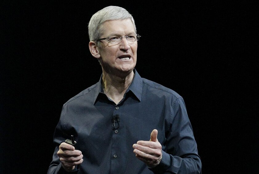 In this June 2, 2014, file photo, Apple CEO Tim Cook speaks at an event in San Francisco.