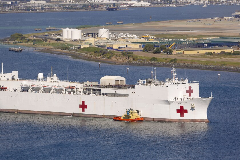 The hospital ship USNS Mercy with it's staff of 800 Navy medical personnel and support staff, along with more than 70 civil service mariners, departed Naval Base San Diego March 23, 2020. The Mercy serves as a referral hospital for non COVID-19 patients in Los Angeles.