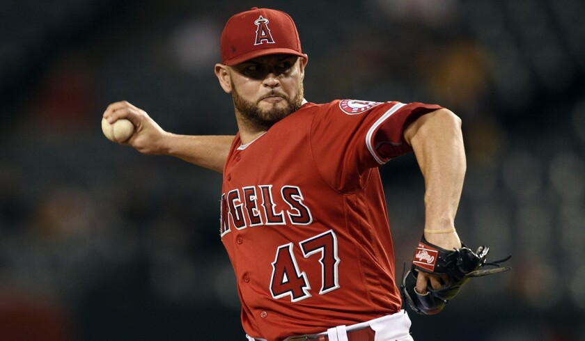 Angels starting pitcher Ricky Nolasco pitches against the Oakland Athletics during the first inning on Tuesday.