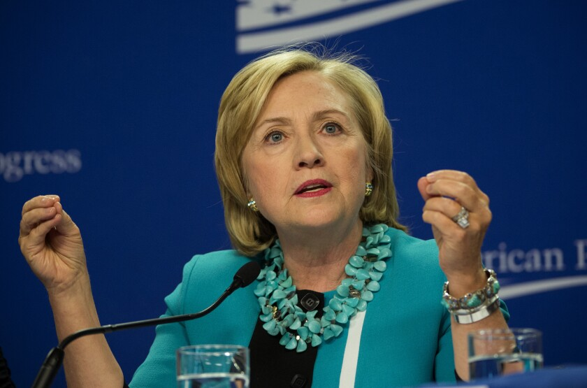 Former, and perhaps future, presidential candidate Hillary Rodham Clinton speaks at a Thursday forum sponsored by the Center for American Progress in Washington.