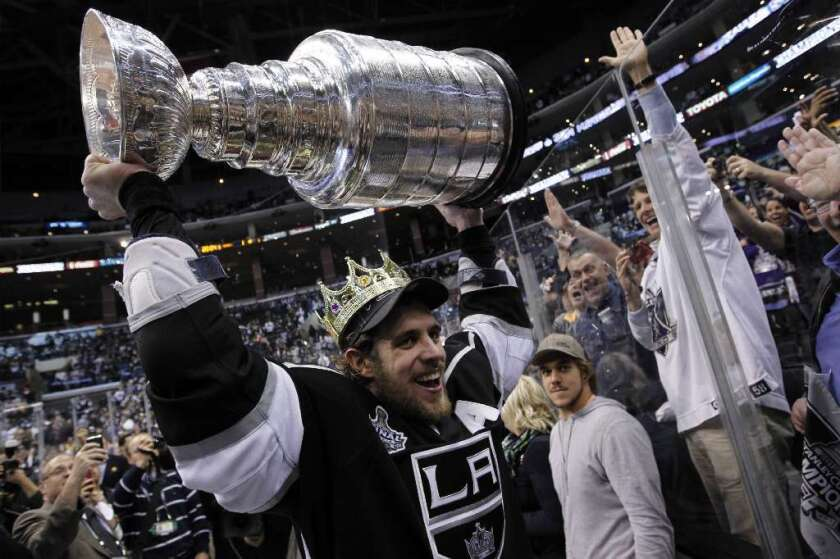 Anze Kopitar celebrates with the Stanley Cup following the Kings' victory over the New Jersey Devils on June 11, 2012.