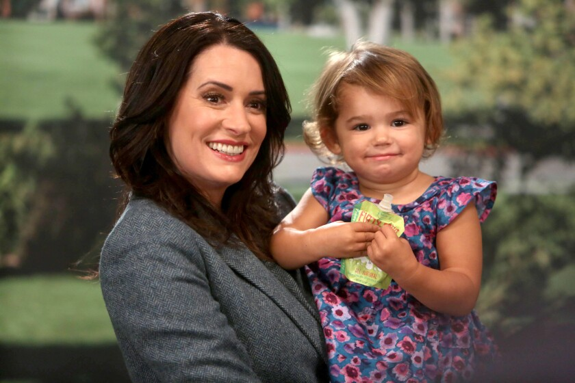 "Paget Brewster, left, and Layla/Emelia Golfieri in ""Grandfathered"" on Fox."