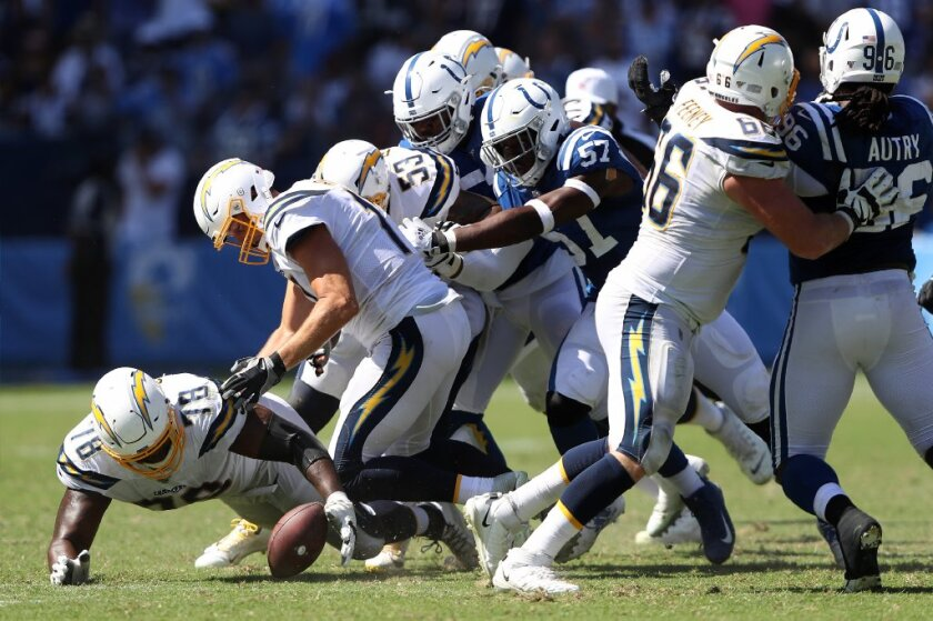 Chargers had a chance to replace Trent Scott (78), who recovers Philip Rivers' fumble last week. Scott allowed Kemoko Turay (57) to strip Rivers of the ball.
