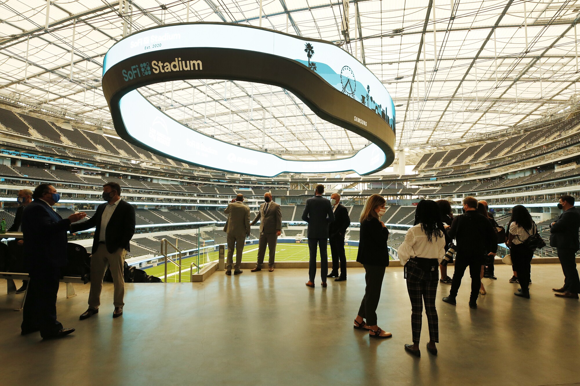 The Los Angeles Rams and Los Angeles Chargers hosted the ribbon-cutting ceremony for the new SoFi Stadium in Inglewood.