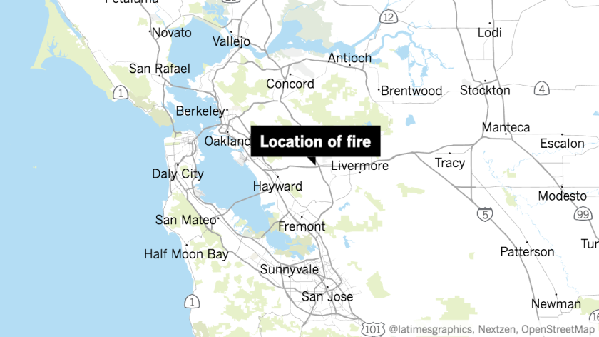 A map shows the location of a fire that broke out in Dublin in Northern California.