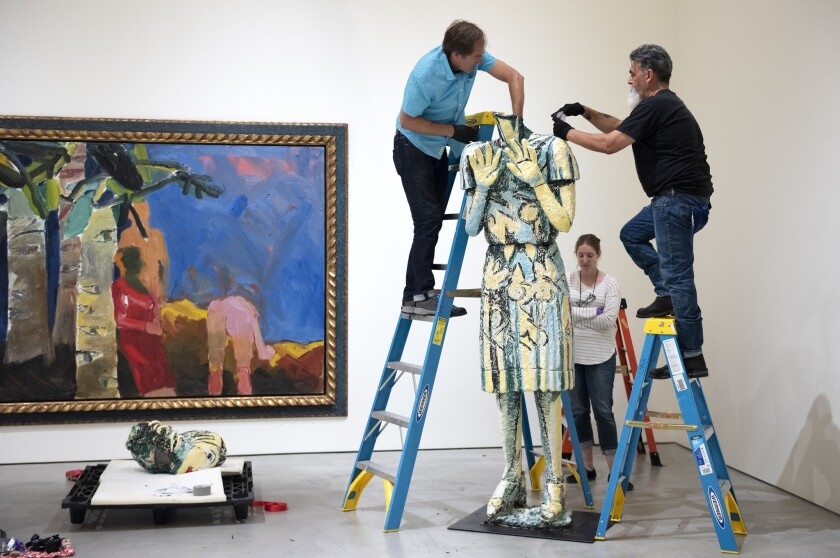 Viola Frey piece Woman in Blue and Yellow II, aka May Lady is installed at the Contemporary Arts Cen