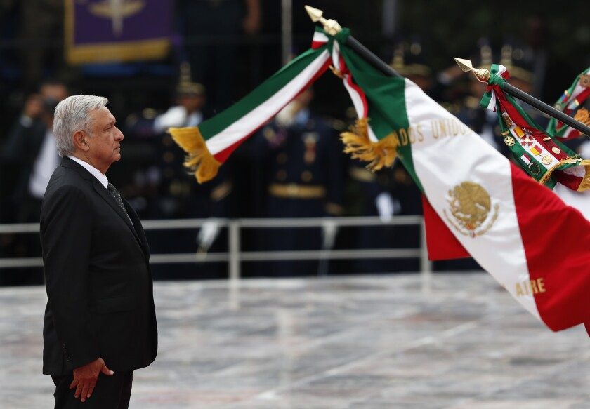 "Mexican President Andres Manuel Lopez Obrador participates in a ceremony Friday commemorating the ""Ninos Heroes,"" a group of cadets who died defending the military academy from U.S. invading forces in the 1847 Battle of Chapultepec during the Mexican-American War."