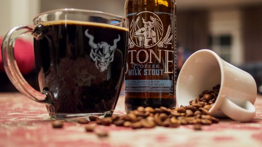 Stone Brewing Co. coffee milk stout pairs well with a banana cream pie, coconut cream pie or pumpkin pie.