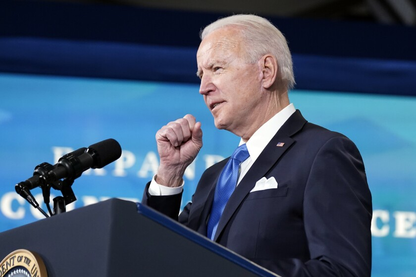 President Joe Biden, accompanied by Johnson and Johnson Chairman and CEO Alex Gorsky, and Merck Chairman and CEO Kenneth Frazier, speaks at an event in the South Court Auditorium in the Eisenhower Executive Office Building on the White House Campus, Tuesday, March 10, 2021, in Washington. (AP Photo/Andrew Harnik)