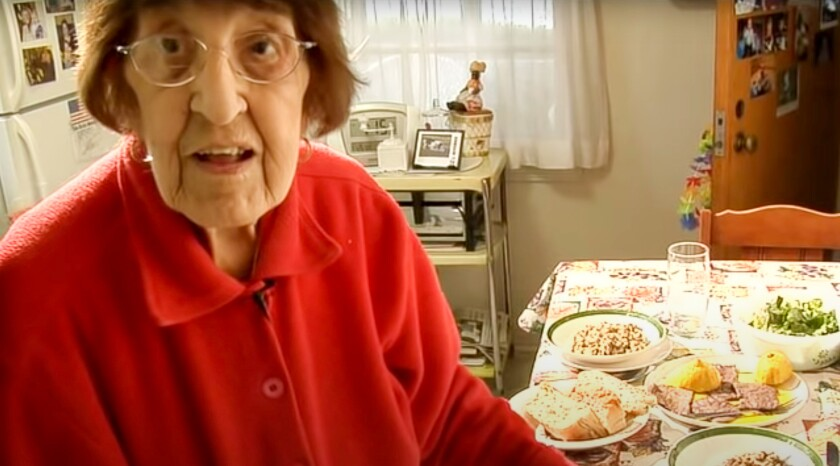 Screenshot from a video of Clara Cannucciari on her YouTube channel Great Depression Cooking, which features recipes she and her family prepared during the Depression.