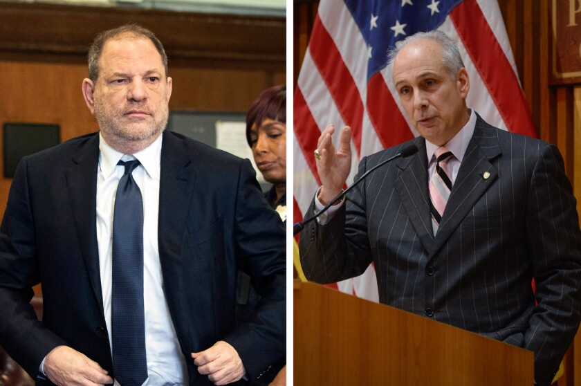 Detectives union president Michael Palladino (right) jumped to the defense of the lead NYPD gumshoe in the Harvey Weinstein (left) sexual assault probe Friday.