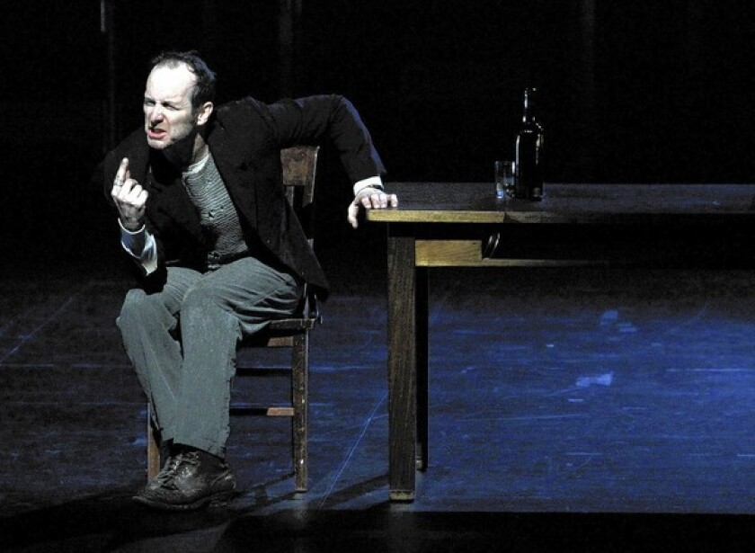 """Denis O'Hare in """"An Iliad,"""" at the Broad Stage in Santa Monica."""