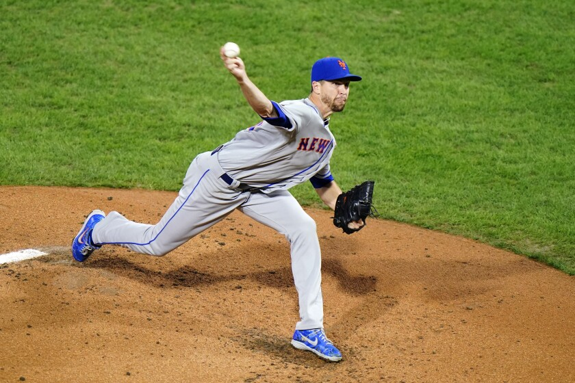 New York Mets' Jacob deGrom pitches during the second inning of a baseball game against the Philadelphia Phillies, Wednesday, Sept. 16, 2020, in Philadelphia. (AP Photo/Matt Slocum)