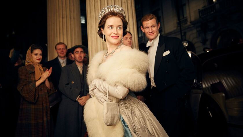 "Claire Foy, center, plays Queen Elizabeth and Matt Smith plays her husband, Prince Philip, right, in Netflix's new series ""The Crown,"" which began streaming Friday."