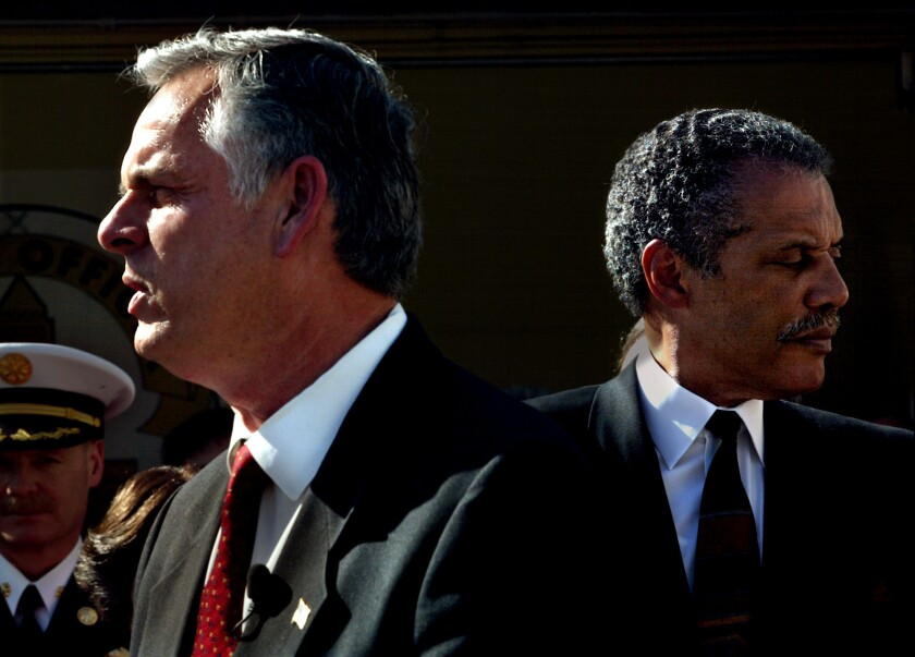 The LAPD was in crisis when Mayor James K. Hahn, left, with then-Police Chief Bernard Parks, took office.