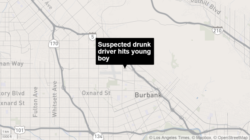 Suspected drunk driver hits young boy map
