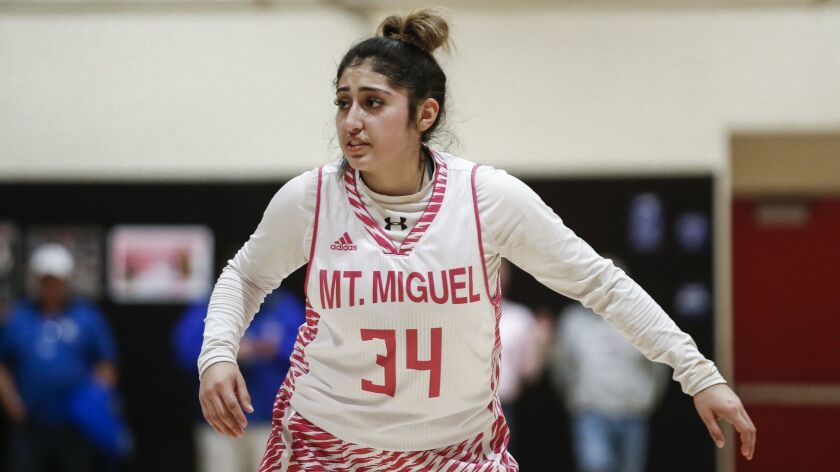 Mount Miguel shooting guard Citalli Gurrola (34) plays defense in the third period against Grossmont.