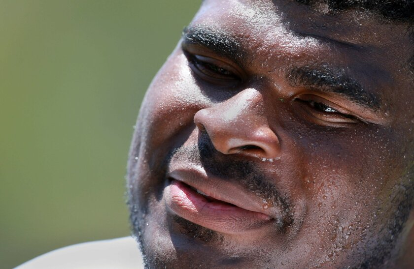 Chargers tackle D.J. Fluker spoke to the media after practice at Chargers Park.