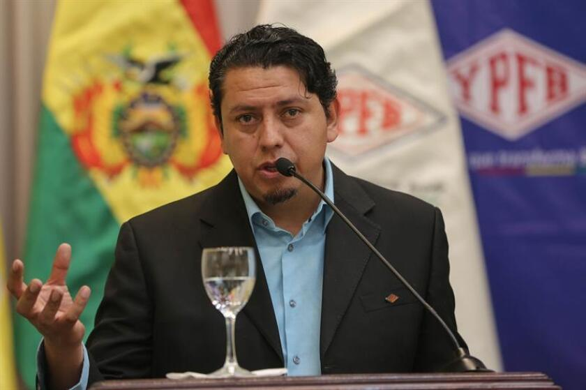 The president of Yacimientos Petrolíferos Fiscales Bolivianos (YPFB), Oscar Barriga, speaks at a press conference on Jan. 28, 2019, in La Paz, Bolivia. Barriga explained that it is planned to explore 18 wells during 2019, and that the state YPFB plans to invest some 1,450 million dollars this year in the gas sector, of which 450 million to explore the new wells. EPA-EFE / Martin Alipaz
