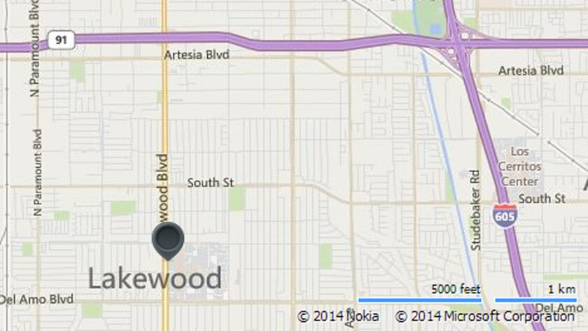 Map shows location of Lakewood Center Mall.