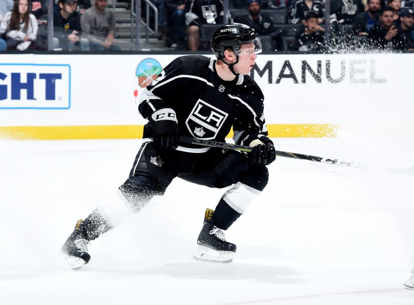 Kings center Jaret Anderson-Dolan plays against the Detroit Red Wings on Oct. 7, 2018.