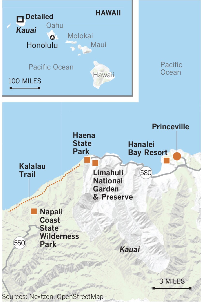 Map of areas on Kauai damaged by flooding in April 2018.