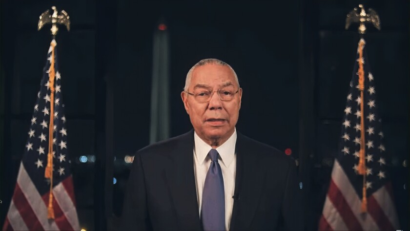 Former Secretary of State Colin Powell speaks during the second night of the Democratic National Convention.