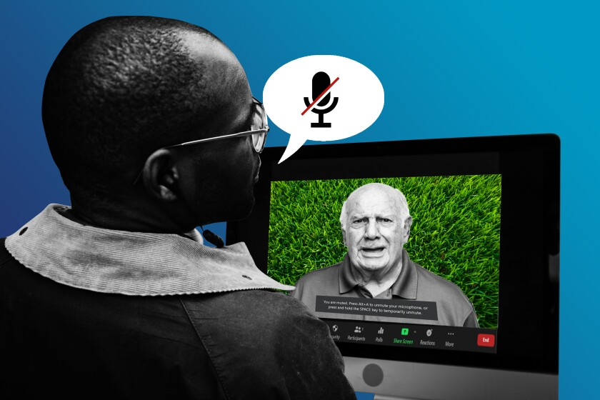 Illustration of two people in a video conference with one of them on mute.