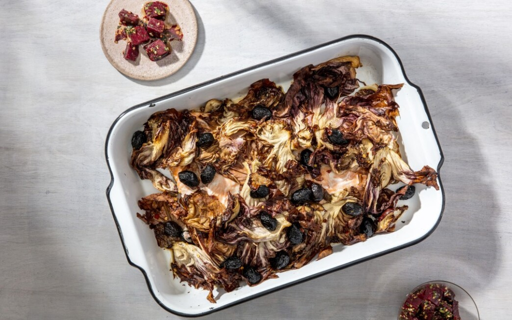 Slow-Roasted Salmon with Spicy Radicchio and Olives