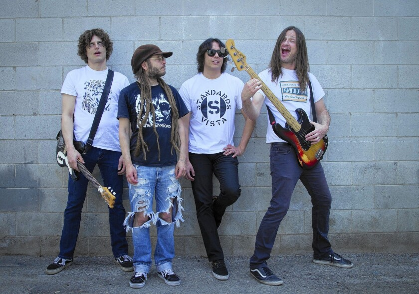 Hard-core punk group Off! includes Dimitri Coats, from left, Keith Morris, Mario Rubalcaba and Steven McDonald.